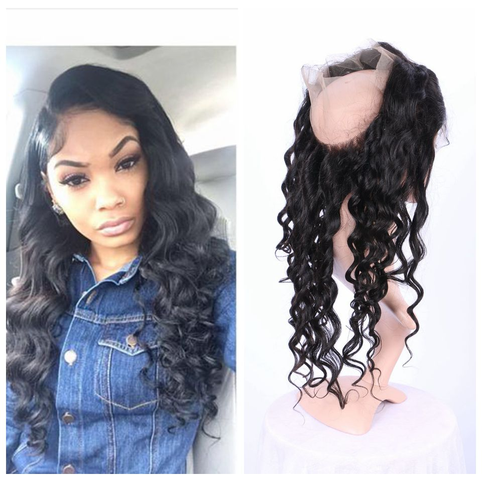 Pre Plucked 360 Lace Frontal With Baby Hair Virgin Peruvian Loose Wave Lace Band Frontal Natural Hairline<br><br>Aliexpress
