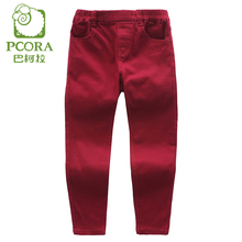 PCORA Pants for Girls Leggings Cotton Pants Children Trousers Red/Khaki Color Baby Girl Clothes Elastic Waist Girls Pants(China)