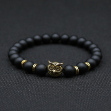 8mm Silver Plated Animal Owl Head Bracelet With Natural Black Lava Rock Stone Energy Men Beaded Bracelets For Women A-8(China)