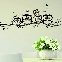 Black Owl Cartoon Wall Stickers Home Decoration For Kids Room Modern Pvc Diy Art Removable Vinyl Decal Living Room Accessories