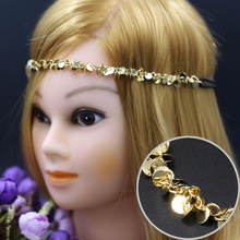 women elastic gold color sequins Headbands punk vintage Headband Hairbands Headwear Head Band Head Chain(China)