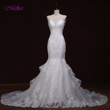 Melice Charming Sweetheart Beaded Crystal Mermaid Wedding Dresses 2018 Gorgeous Appliques Backless Wedding Gown Robe De Mariage(China)