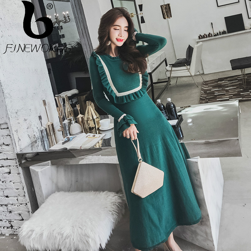 FINEWORDS 2018 Winter Long Knitted Dress Ruffle Vintage Elegant Gentlewomen Korean Sweater Dress Flare Sleeve Robe Party Dresses