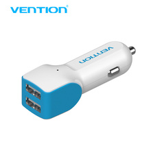 Vention high speed 2 port USB car charger USB 2.0 adaptor for android and iOS smartphones for micro usb cable(China)