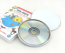 Free Shipping 133*9mm Silver & White Round storage tin box for CD or DVD disk(China)