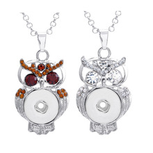 Buy 50cm Link Chain Diy Snap Button Jewelry Silver Copper Rhinestones Owl Craft Snap Button Pendant Necklace Fit 18mm Button Snap for $15.60 in AliExpress store