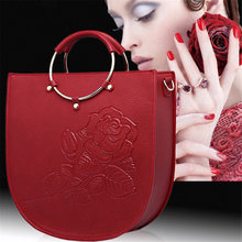 Floral Tote Bag Luxury PU Leather Embossed Printing Women Beautiful Messenger Bag Vogue Charming Graceful Ladies Flower Handbags