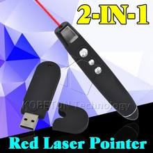 2 in 1 USB Wireless Red Laser Pointer with Clip PPT Presenter Pen RF Remote Control for Office School Powerpoint For Laptop PC