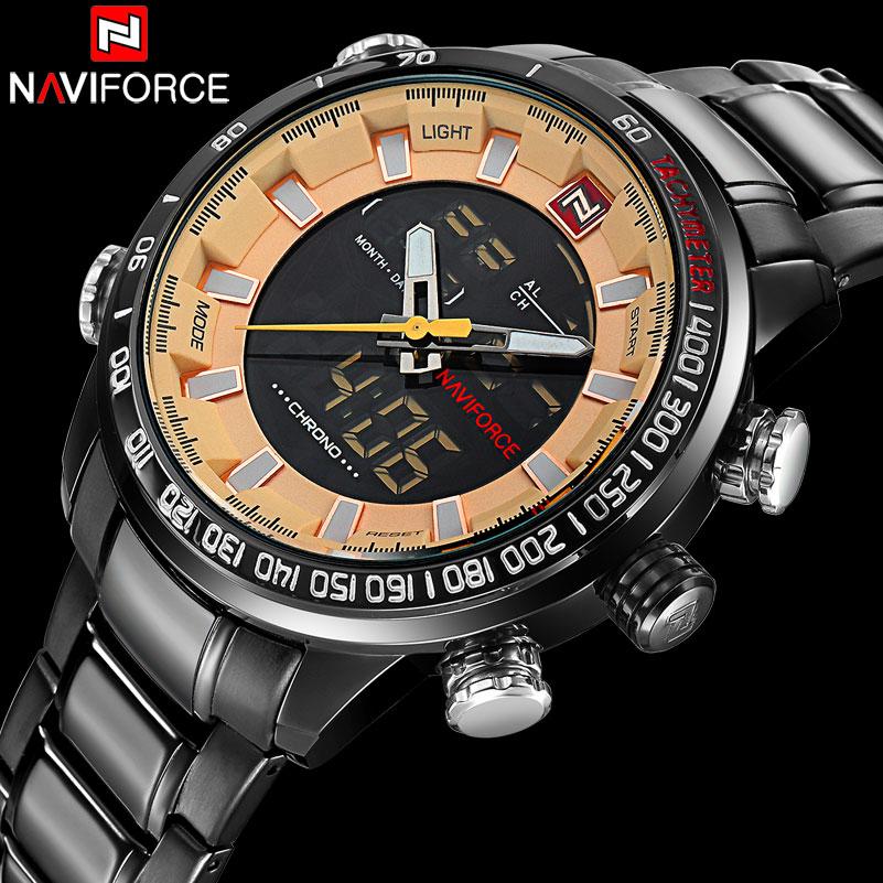 men sport watches NAVIFORCE brand dual display watches LED digital watches stainless steel quartz watch gift clock wristwatches<br><br>Aliexpress