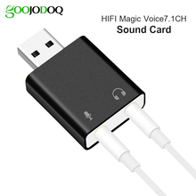 7.1 USB Sound Card External Adapter USB Audio Card 3D Stereo Jack 3.5mm Earphone Micphone Card for Computer Notebook PC Laptop(China)