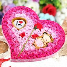 Valentine'S Rose Flower Gift Box Wedding Birthday 100Pcs Soap Flower Handmade Craft Boxes Christmas Present 3(China)