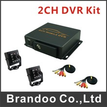 Free shipping 2 channel MDVR kit, including 2 IR car cameras, suit for taxi, uber car, private car, bus. Russian Menu.