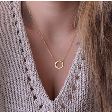 N602 Circle Pendants Necklaces Eternity  Collares Minimalist Jewelry Dainty Forever Women Necklace Gift 2017