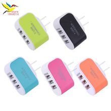 High Quality 3.1A Triple USB colorful EU Plug 5V 2A 3 USB Ports Wall Home Travel AC Charger Adapter for iPhone 2017 new 300 pcs