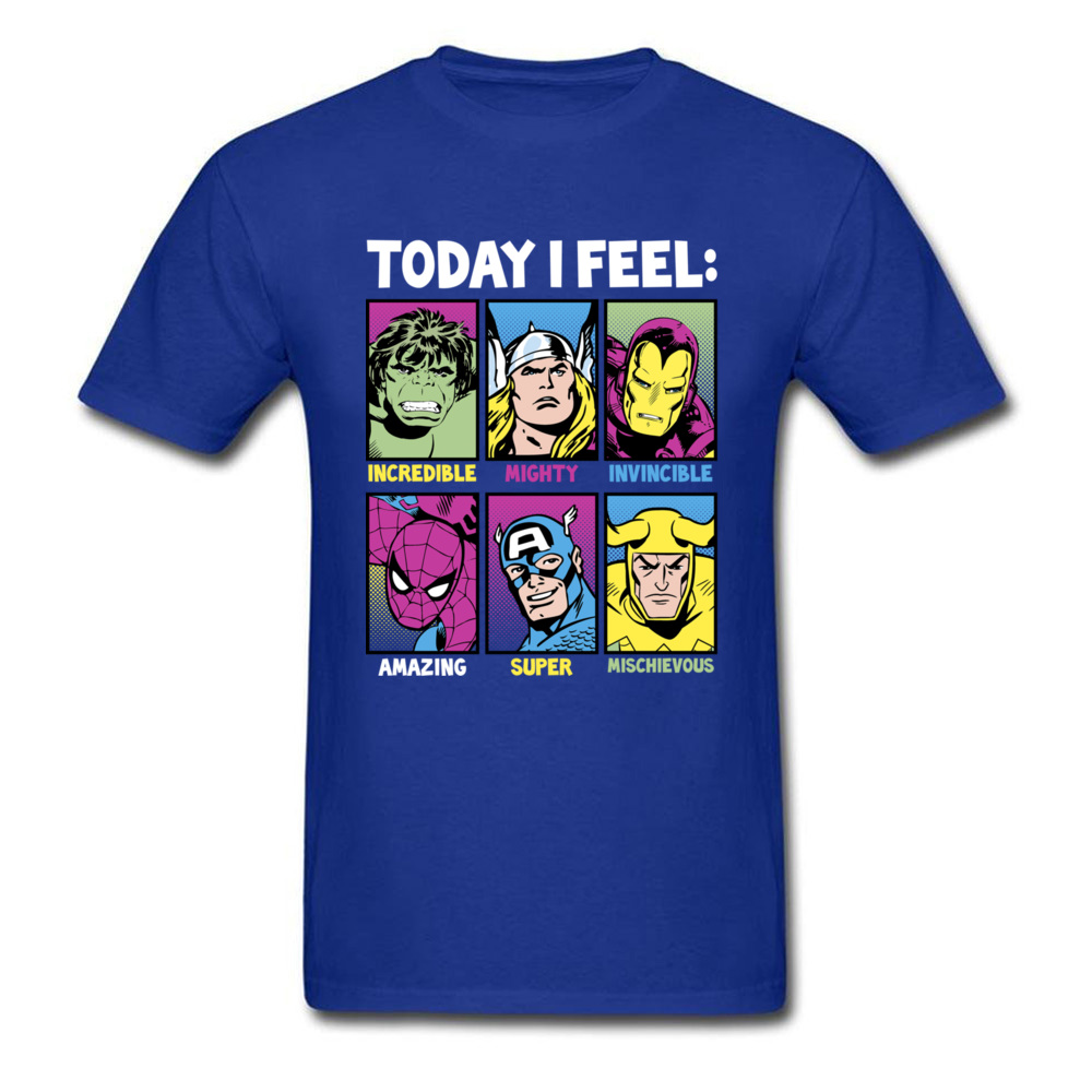 Star Wars Today I Feel Marvel Heroes T Shirts Funky Mens Summer/Autumn Tops Tees Casual Top T-shirts Crewneck 100% Cotton Fabric Today I Feel Marvel Heroes blue