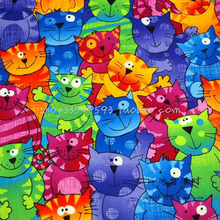 105cm Wide 1pc Lovely Cat Fabric Cotton Fabric Telas Patchwork Clouful Group Cats Print Fabric Sewing Material Diy Baby Clothing