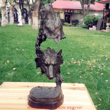 Art Deco Sculpture Double Wolf Bronze Statue