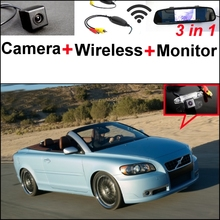 Wireless Receiver + Mirror Monitor Easy DIY Back Up Parking System For Volvo C70 + 3 in1 Special Rear View Wifi Camera