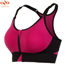New Women Seamless Zipper Yoga Bra Top Push up For Yoga Sports Running Tennis Fitness Shockproof Clothing Sportswear(China)