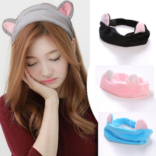 1PCS New Korean Velvet Cat Band Ears Headband Women Hair Accessories Wash Shower Cap Head Ornaments Elastic Hair Cotton Hairband(China)