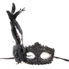 Venetian Mask Venice feather flower black for Halloween party show Carnival