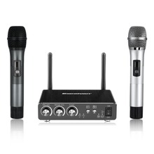 Excelvan K28 Dual Wireless Microphones with Receiver Box Various Frequency Full-Metal Microphone Bluetooth For Home KTV/Speech
