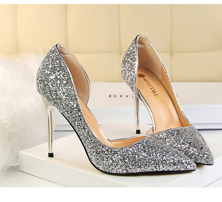Women Pumps Sexy Glisten Women Shoes Wedding Party Dress Heels Women Hollow Shallow Mouth High Heels Stiletto 868-8 10