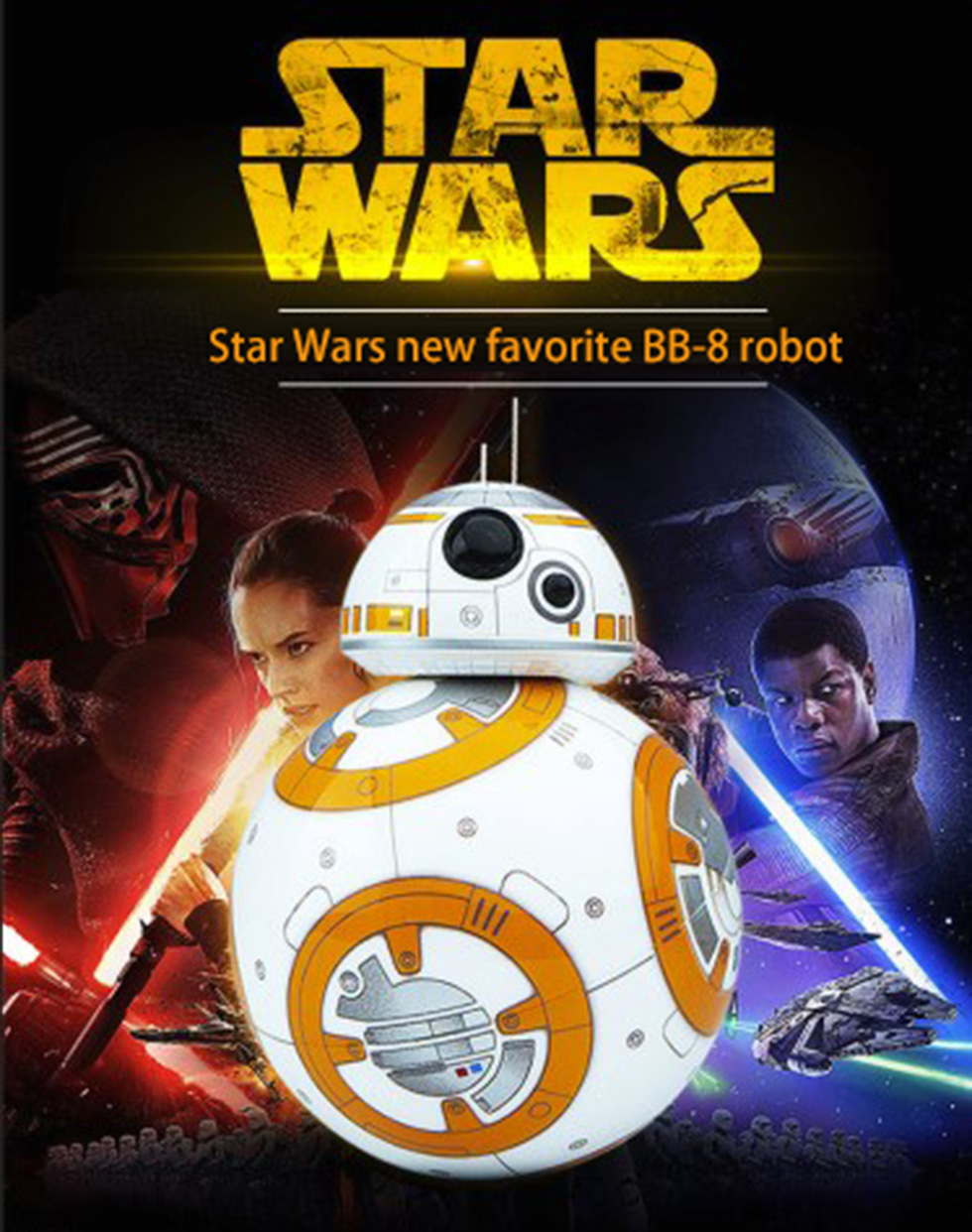 Free shipping 17cm Star Wars RC 2.4G BB-8 Robot upgrade remote control BB8 robot intelligent with sound RC Ball kid gift boy toy<br>