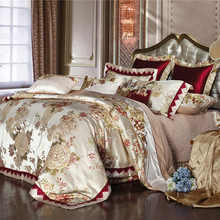 Egyptian cotton Luxury Royal style 4PCS duvet cover bedspread pillow case set/Rich flowers wedding  bedding set bed lines