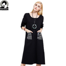 Women Fashion Vintage PU Pocket Zipper Design Dress Autumn Loose Big Size Wear To Work Office Casual Party A Line Dresses XL-5XL(China)