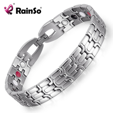 Stainless Steel Bracelet with Magnet Stone or Germanium White Ion and FIR Stone 4 in 1 Far Infrared Energy Magnetic Bracelet(China)