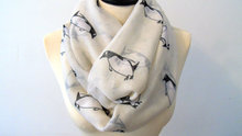 Penguin Infinity Scarf penguins Scarf Bird Cute Scarf Fall Scarf Winter Soft Scarf Large Scarf Valentines Gifts For Her