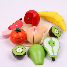 Early Education Preschool Children Wooden Food Fruit and Vegetable Cutting Set Colorful Pretend Play Kitchen Toys Set For Kids