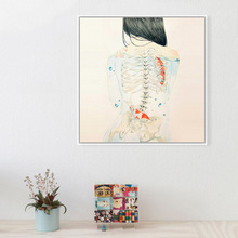 Japanese Sexy Naked Tatooed Girl Modern Canvas Painting Hipster Fish Art Prints Poster Watercolor Wall Picture For Living Room