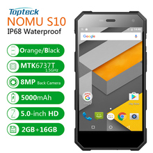 "NOMU S10 IP68 Waterproof Shockproof 5000mAh OTG 4G Smartphone Android 6.0 Quad Core MTK6737T 5.0"" IPS 2GB+16GB 8MP Mobile Phone(China)"