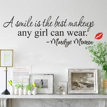 A Smile Is The Best Makeup Red Lips girl room decor wall stickers home decal DIY quote saying art great gift for a girl