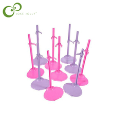 Wholesale 10pcs Dolls Toy Stand Support for Girls Prop Up Mannequin Model Display Holder Purple Pink Color S58(China)
