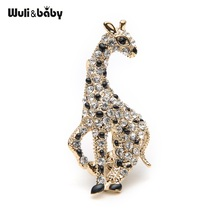 Rhinestone Gold Color Alloy Giraffe Animal Brooch Deer Suits Dress Banquet Men And Women Brooches Pin Size 4.3*2.2CM