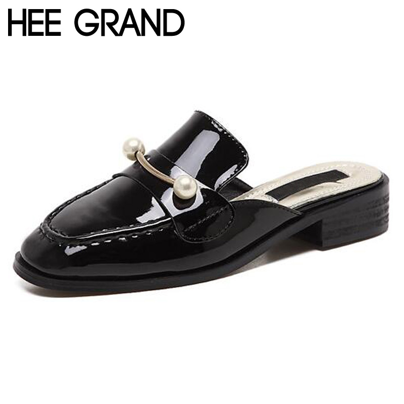 HEE GRAND Woman Flats Fashion Half Slipper Spring Summer String Bead PU Leather Sandals Soild Casual Womens Shoes XWT624<br><br>Aliexpress