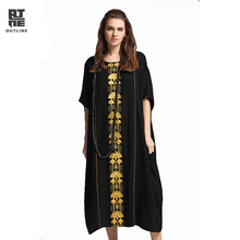 Outline Summer O-neck Casual Dress Women Half Sleeve Retro Exotic Embroidery Patch Pocket Long Plus Size Bohemian Dress L172Y032