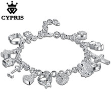 WHOLESALE  H144 most popular on aliexpress  Charm Bracelet silver Bracelet  Big Austrian Crystals 13 Charms Factory  jewelry