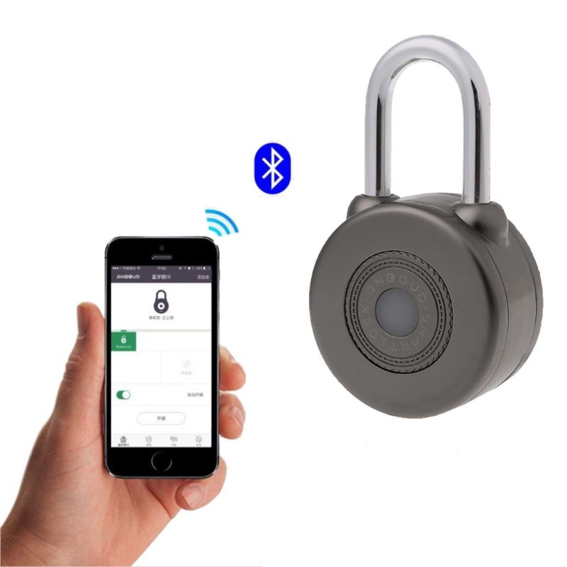 Electronic Wireless Lock Keyless Smart Bluetooth Padlock Master Keys Types Lock with APP Control for Bike Motorycle Home Door <br>