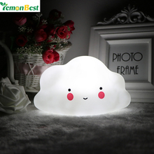 Novelty Cloud Smile Face Night Light Childrens Bedroom Nursery Night Lamp Mini Cloud Light Emitting Children Room Decor
