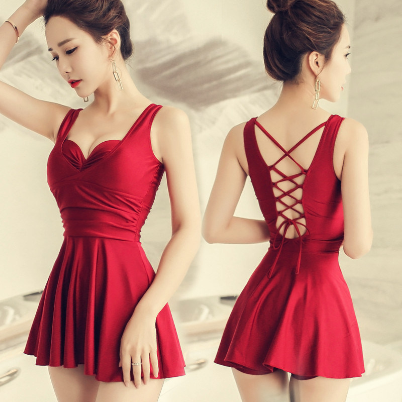 New 17 Women Swimsuit Solid Push Up Skirted Bathing Suit Padded One Piece Strappy Ruched Beach Dress Sexy Ladies Swimwear 5
