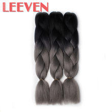 Leeven 24inch 100g Jumbo Braids Hair Extension Synthetic Crochet Braiding DIY Hairstyle Black Ombre Gray Kanekalon 6PCS/lot