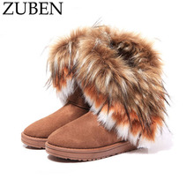 1Pair Fashion Design Boots women Imitation Faux Fur Girl Women Leather Ankle Boots for Women Winter Snow Flat Boots High Quality
