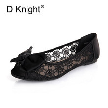 New Fashion Bow Round Toe Slip-on Women Lace Flats Comfortable Ladies Casual Flat Shoes Women's Lace Ballerinas Flats Size 35-40(China)