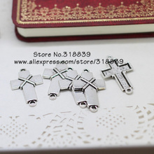 30pcs/lot 21*38mm Antique Silver Metal Cross Connector for Bracelets Jewelry Charms Findings 7067(China)