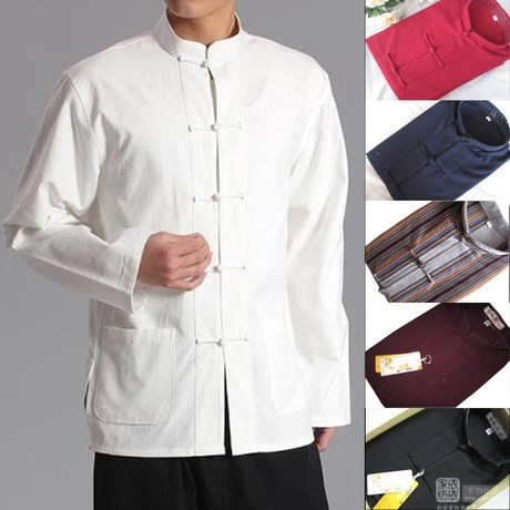 3fa99ffe96 Long Sleeve Cotton Traditional Chinese Clothes Tang Suit Top Kung Fu Tai  Chi Uniform Spring Autumn Shirt Blouse Coat for Men