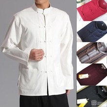 Long Sleeve Cotton Traditional Chinese Clothes Tang Suit Top Kung Fu Tai Chi Uniform Spring Autumn Shirt Blouse Coat for Men(China)